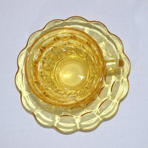 Unbranded Dining - Vintage Yellow Gold Glass Cup and Saucer Set of 2